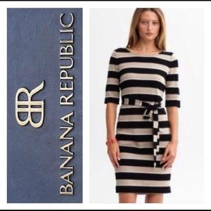 Banana Republic belted striped dress